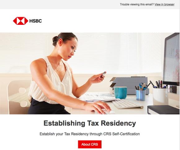 HSBC香港からのメール「Establish your Tax Residency」への対処